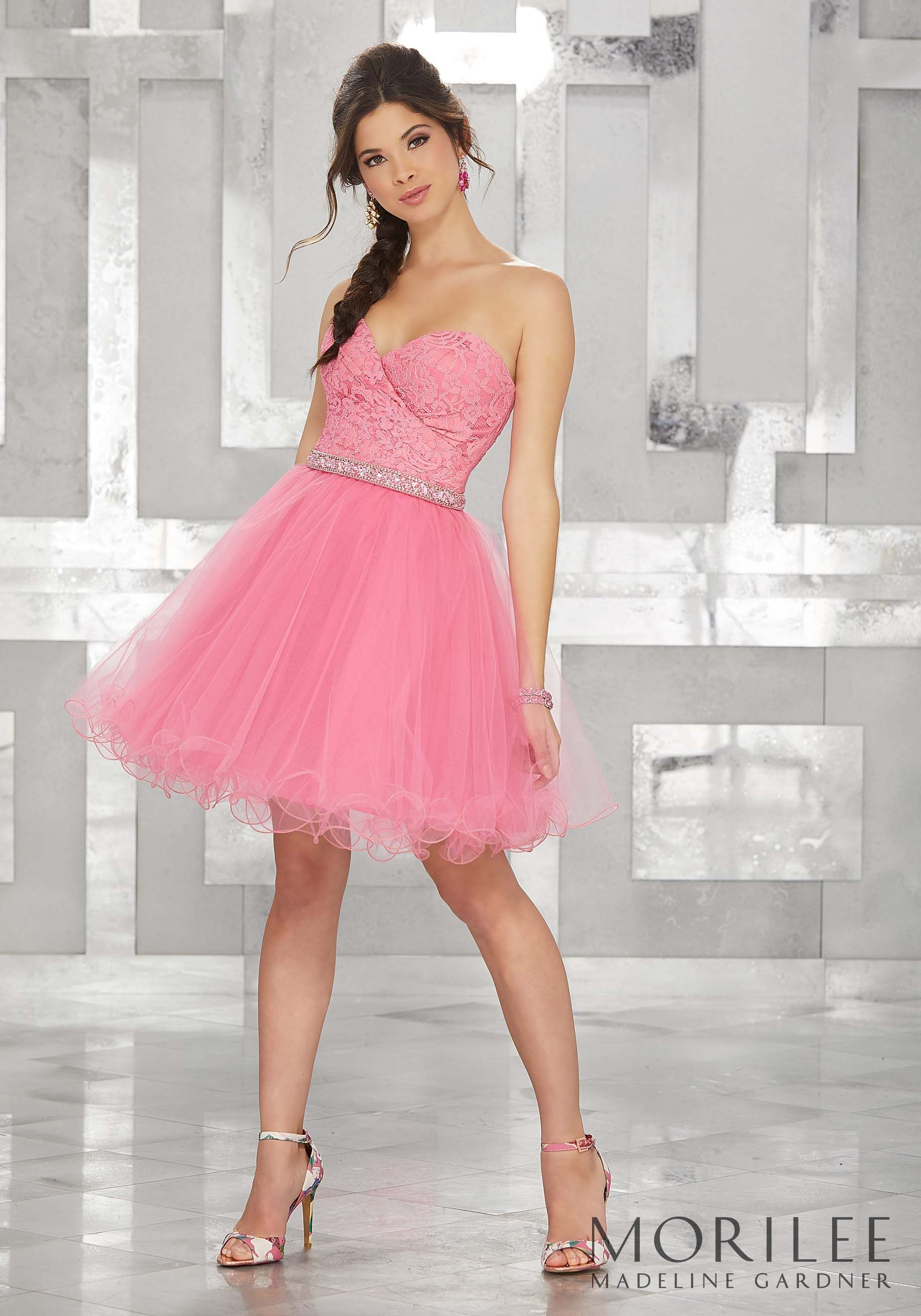 Pink Lace and Tulle Party Dress with Beaded Waistline Trim. Colors ...