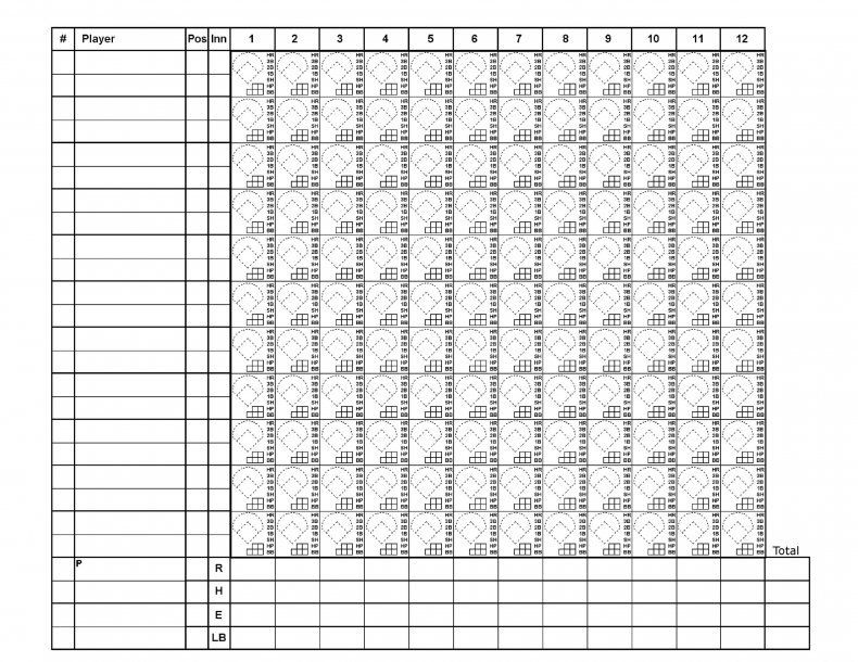 Download Baseball Score Sheet Template 01 Baseball Scores Baseball Templates