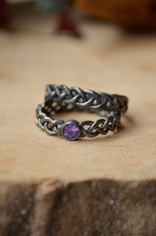 Scandinavian Braid 2pcs rings, Amethyst 4mm Black silver