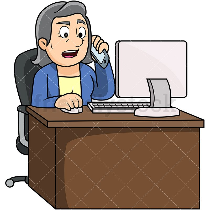 Old Woman Calling Someone While Using Computer ...
