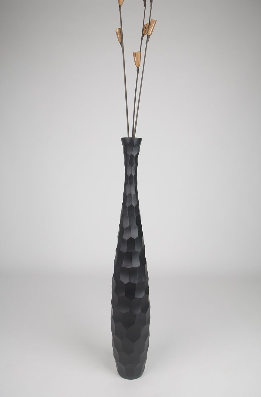 Leewadee Tall Big Floor Standing Vase For Home Decor 90 Cm Mango Wood Black Carton
