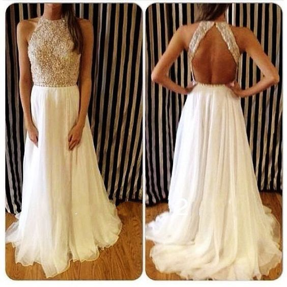 white and gold sequin prom dress,Elegant High Neck Prom Dress Sale ...