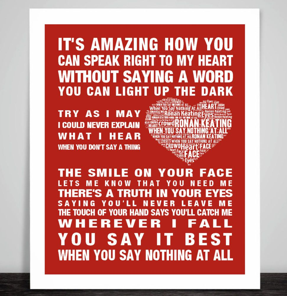 Smile Heart Song Lyric Quote Print