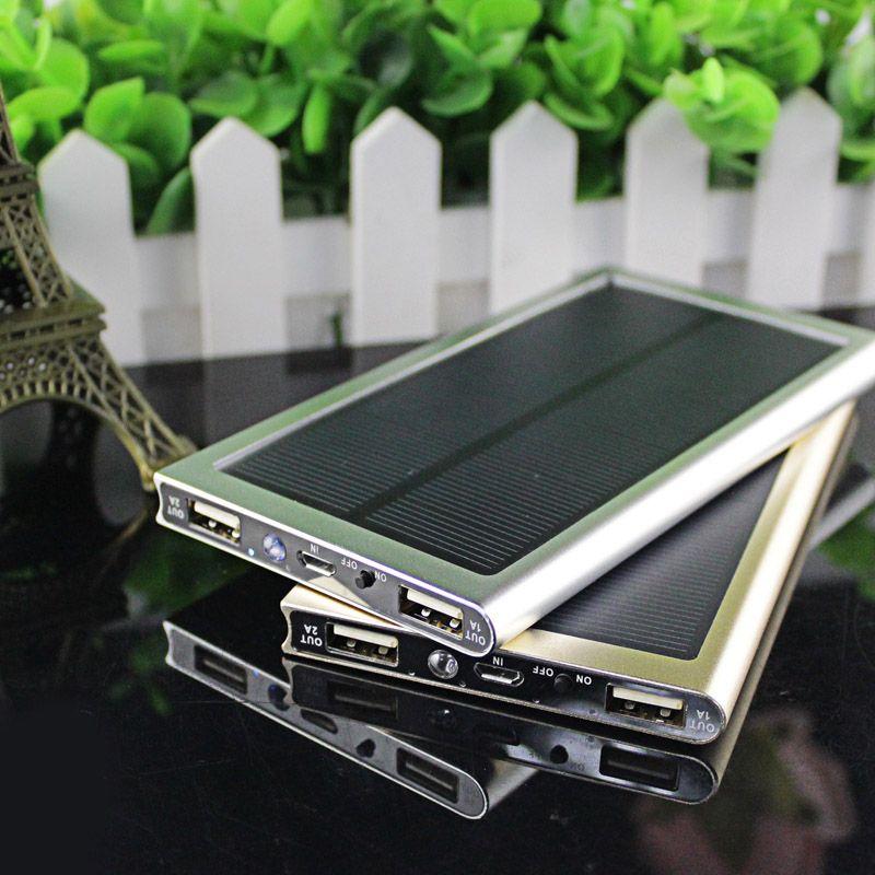 超薄型ソーラー電源銀行12000 Mahデュアルusb金属ケースリチウムポリマー電池ソーラー充電器powerbank