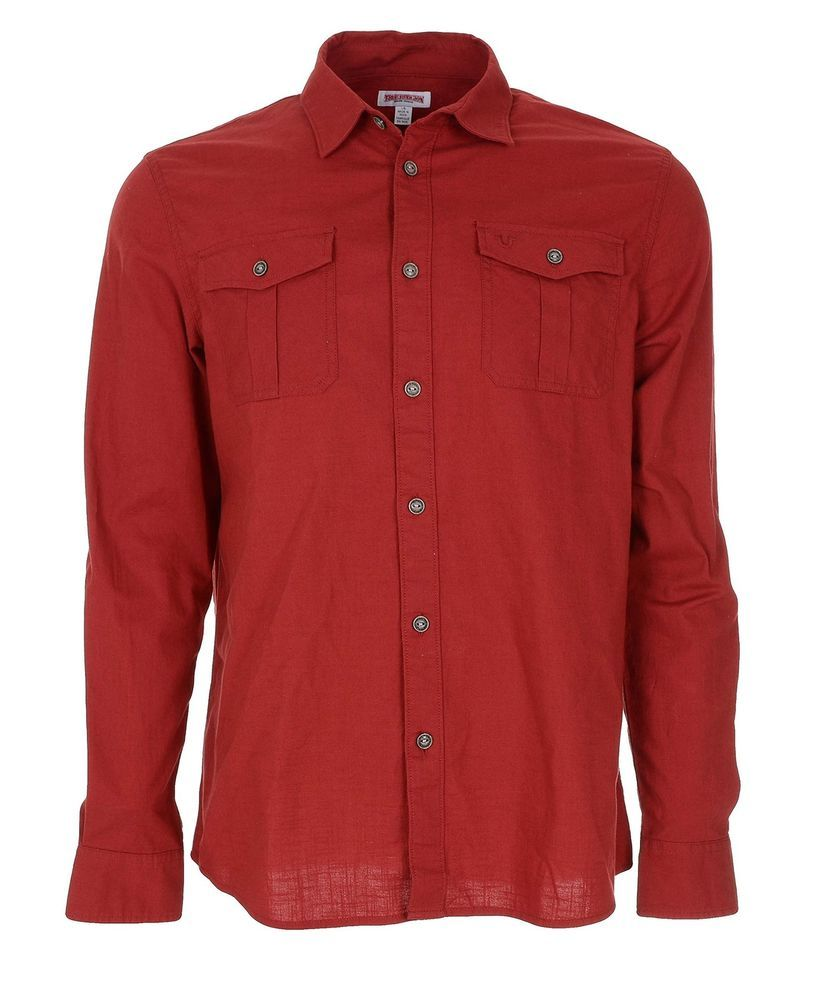 True Religion Men's Long Sleeve Woven Utility Shirt Size L in Vintage Red NWT…
