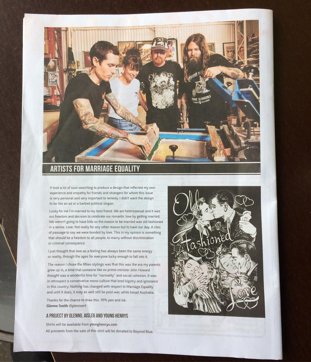 Be sure and grab this weeks @themusiccomau #magazine so you can check out the awesome artwork that  @glennoart created for #marraigeequality - it's a project that we've proudly worked on with @younghenrys  and @glennoart with all proceeds from the sale of the #tshirt going to @beyondblueofficial - they're on sale via the #younghenrys website. Shouts to #Mattyv and the #aisle6ix #crew - #alwayshandprint  #glenno