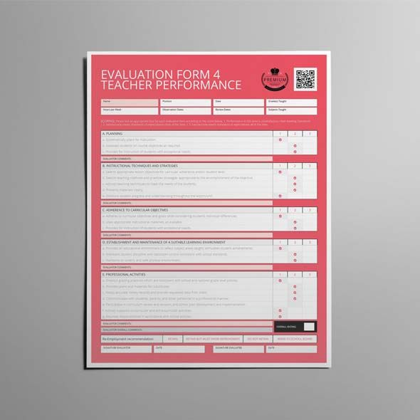 Evaluation Form  Teacher Performance Us Letter  Cmyk  Print