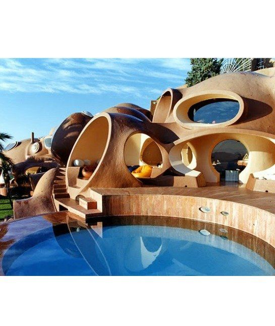 Bubble House  This bubble house is popping with style. Fashion designer Pierre Cardin bought this unusual home built by architect Antti Lovag.