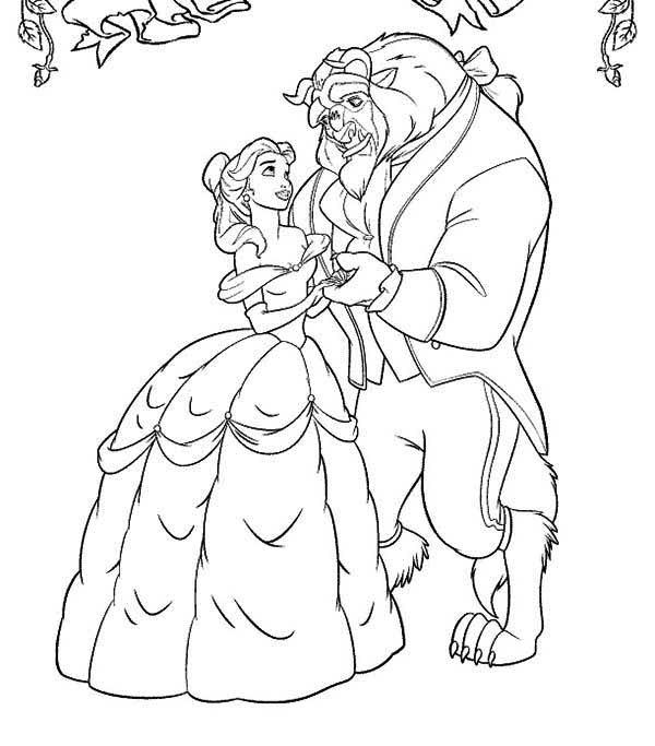 Belle And The Beast Dancing In The Garden Coloring Page Download Print Online Coloring Pages Fo Belle Coloring Pages Dance Coloring Pages Disney Embroidery