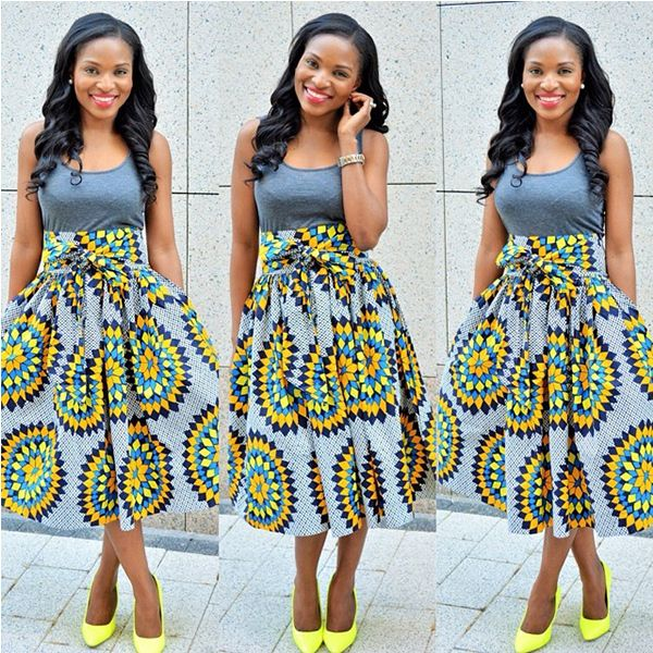Sun-print-high-waist-flare-skirt-paired-with-Yellow-shoes | Zainab ...