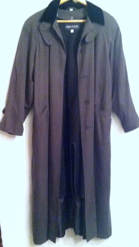 Anne Klein II Ladies Trench Coat Charcoal Grey Black Trim Size Womens 6 Solid #AnneKleinII #Trench