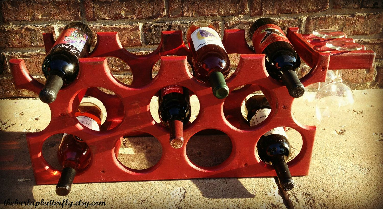 Handmade Wooden Wine Rack Holds 11 Wine Bottles Wooden Wine Rack Handmade Wooden Wine Rack