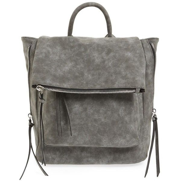 Phase 3 Angle Zip Faux Leather Backpack ($78) ❤ liked on Polyvore featuring bags, backpacks, grey magnet, zip bags, flap bag, flap backpack, vegan leather backpack and day pack backpack