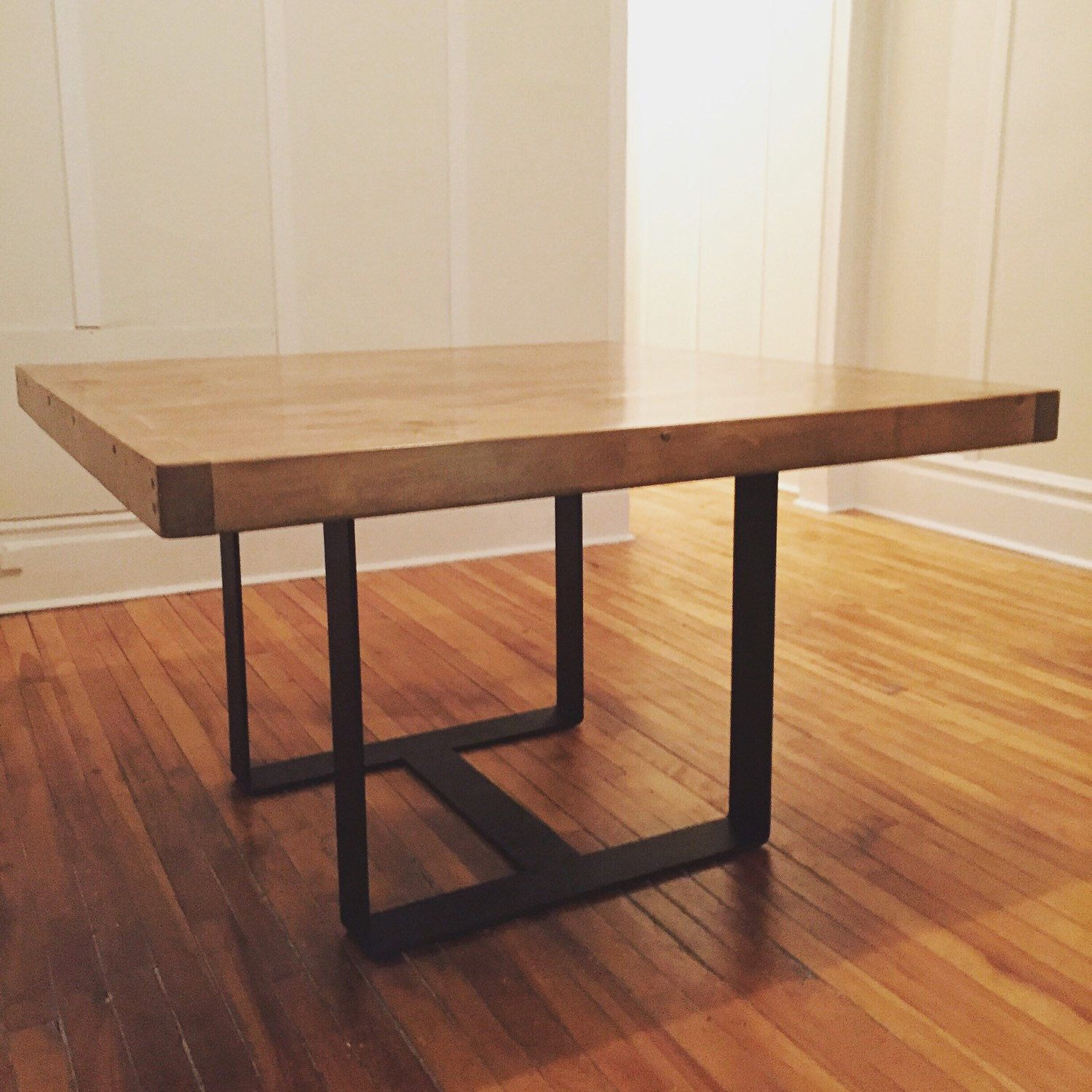 Our Brand New Squared Dining Table With 4 Wrought Iron Legs