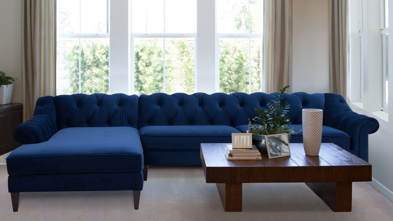 Tremendous Alexandra Tufted Left Sectional Sofa Navy Blue In 2019 Alphanode Cool Chair Designs And Ideas Alphanodeonline