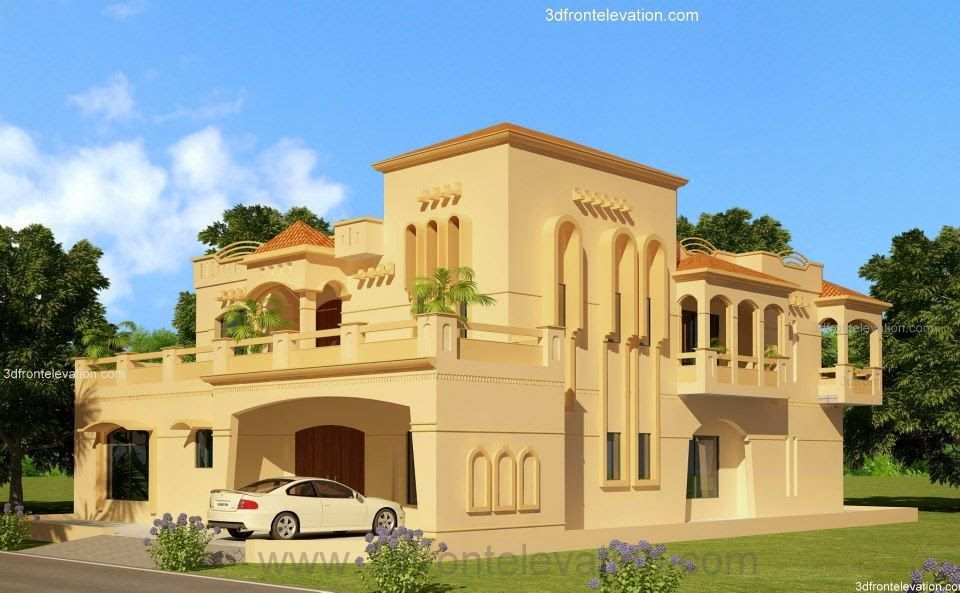 3D Front Elevationcom Lahore 2 KanaL House Design Lahore