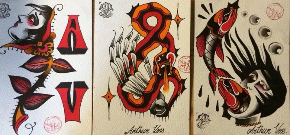 Flashes by tattoo artist Arthur Voss at Santa Sangre Tattoo Studio