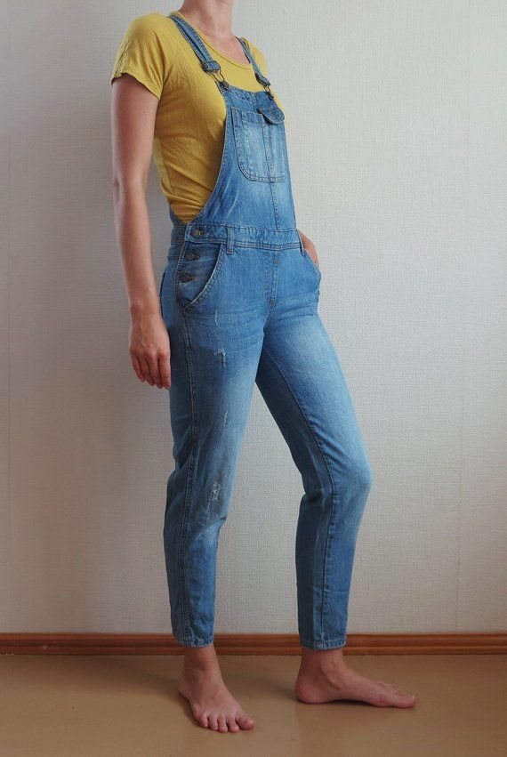 8fecf1b7c4 Vintage Denim Overalls Petite XS Sexy Look Jeans Onesie Long Pants Light  Blue Fitting Jumpsuit Jeans