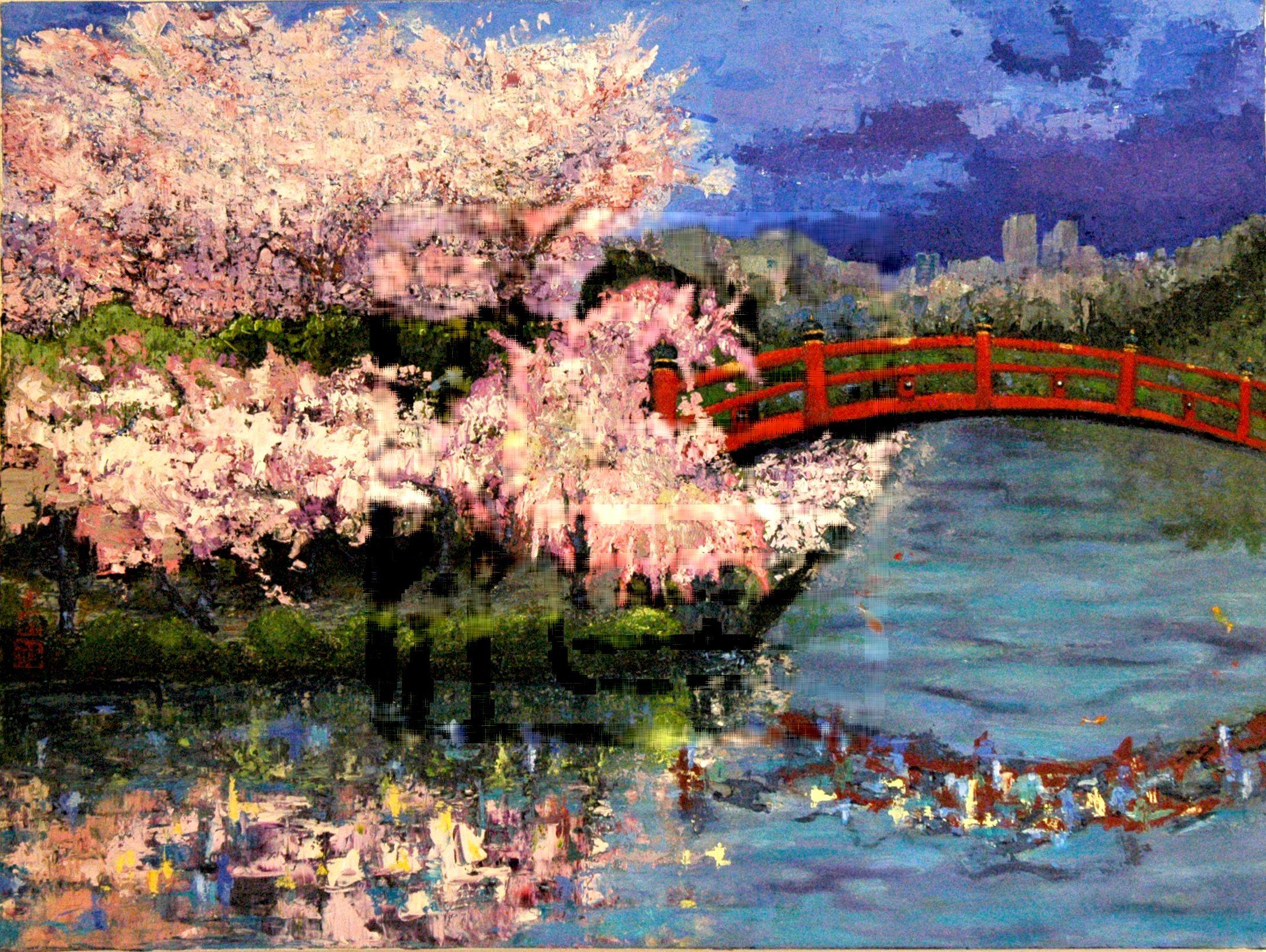 pin japanese garden art landscape wallpaper 1680x1050 on pinterest 2183x1642 in 36588 - Japanese Garden Cherry Blossom Paintings
