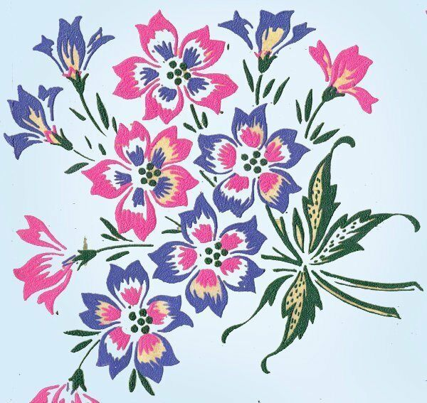 1950s Color Vintage Vogart Textilprint 420 Uncut Floral Hot Iron No Sew Transfer #VogartTextilprints #IronandGoNoSew