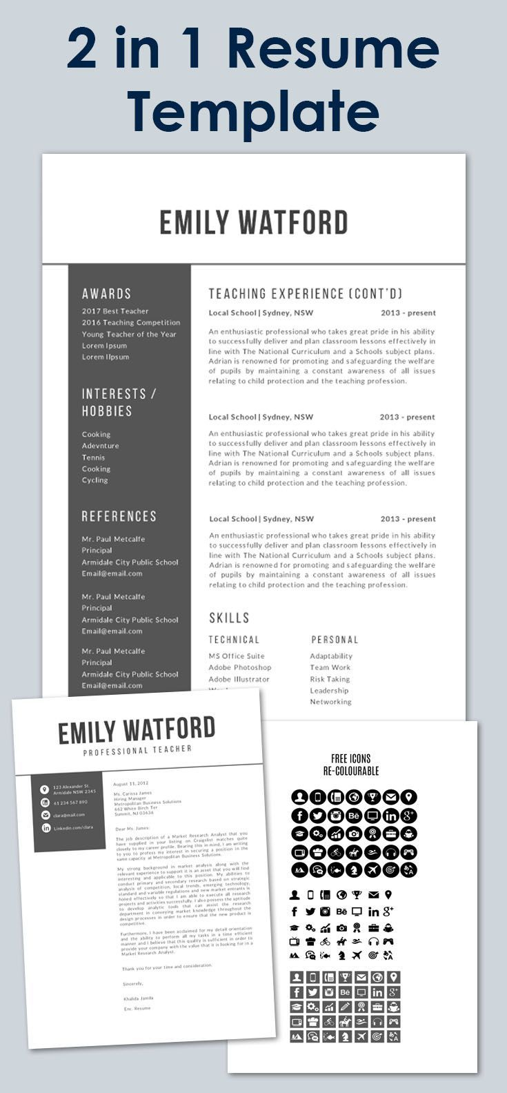 Editable resume cover letter and reference all parts