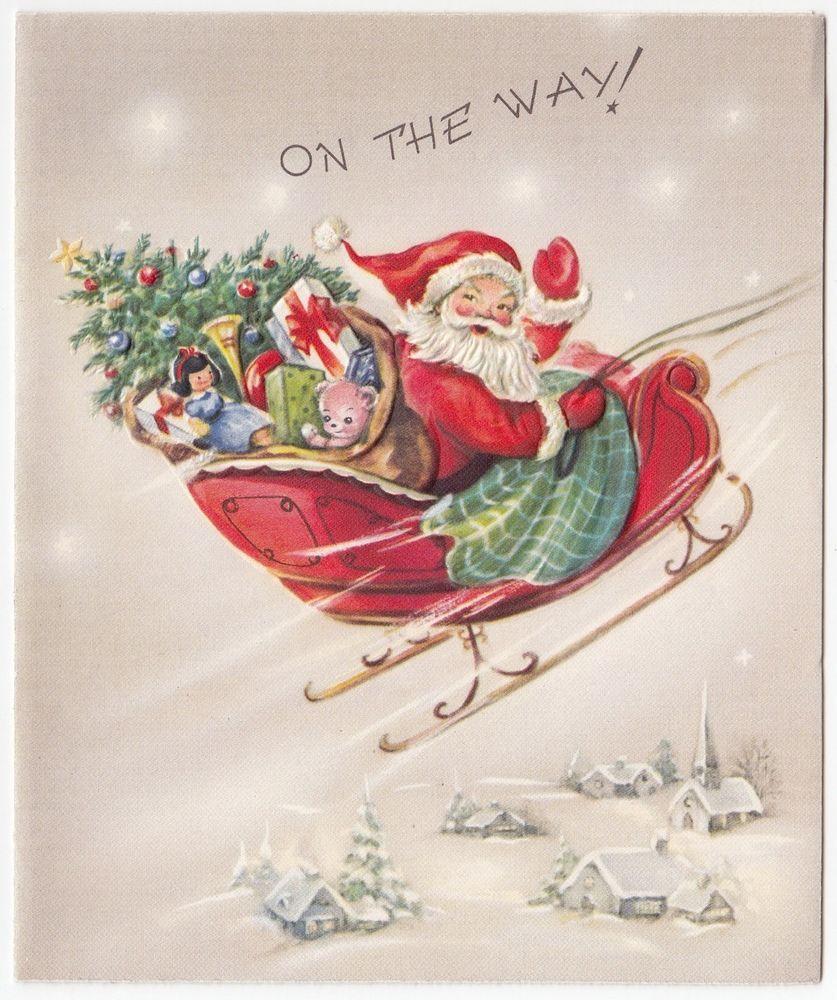 Vintage Greeting Card Christmas Santa Claus Pink Reindeer Sleigh