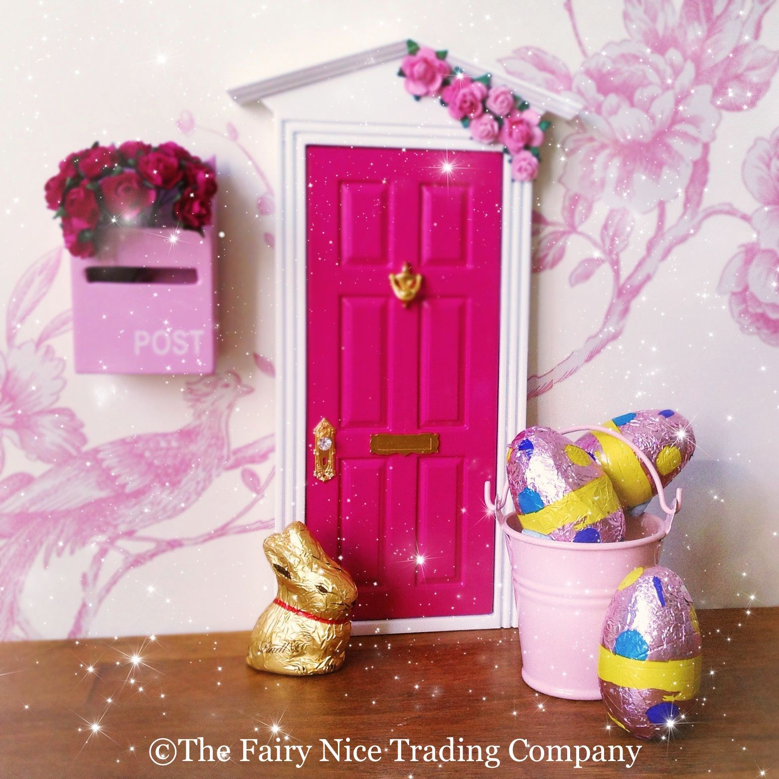 Looks Like The Easter Bunny Has Brought A Delightful Bucket Of Chocolatey Treats To This Fairy Door A Fairy Happy Easter Fairy Door Accessories Fairy Doo
