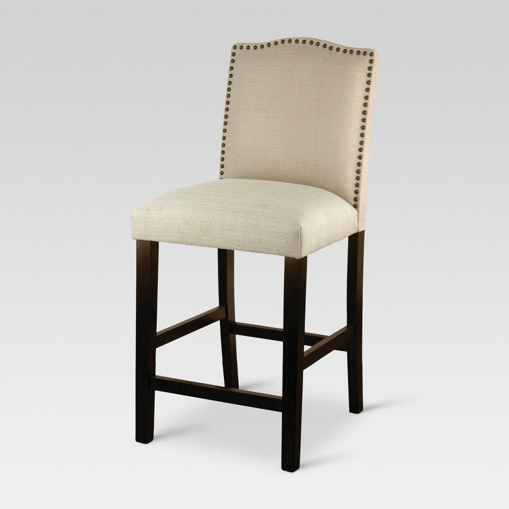 Camelot Nailhead Trim 25 Counter Stool Hardwood Oyster