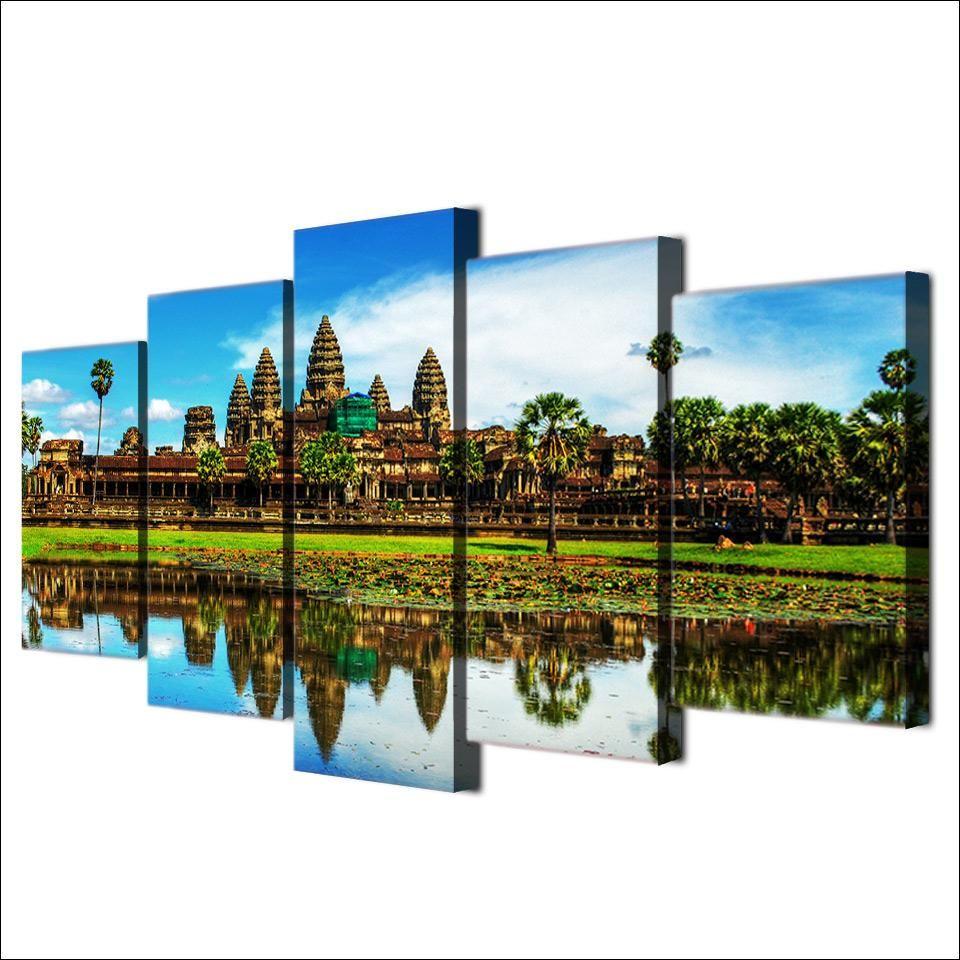 Angkor Wat Temple Cambodia 5 panel canvas Wall Art Home Decor Poster Print