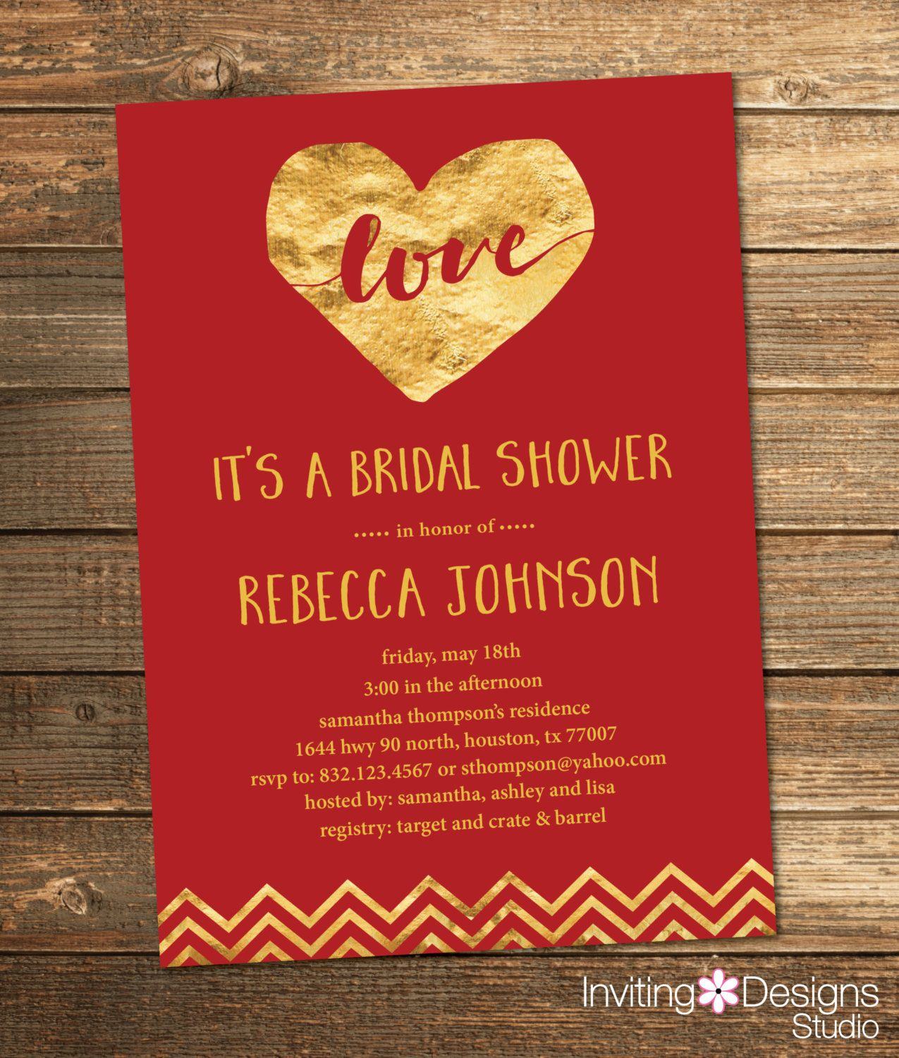 Red and Gold Bridal Shower Invitation, Gold, Red, Dark Red, Foil ...