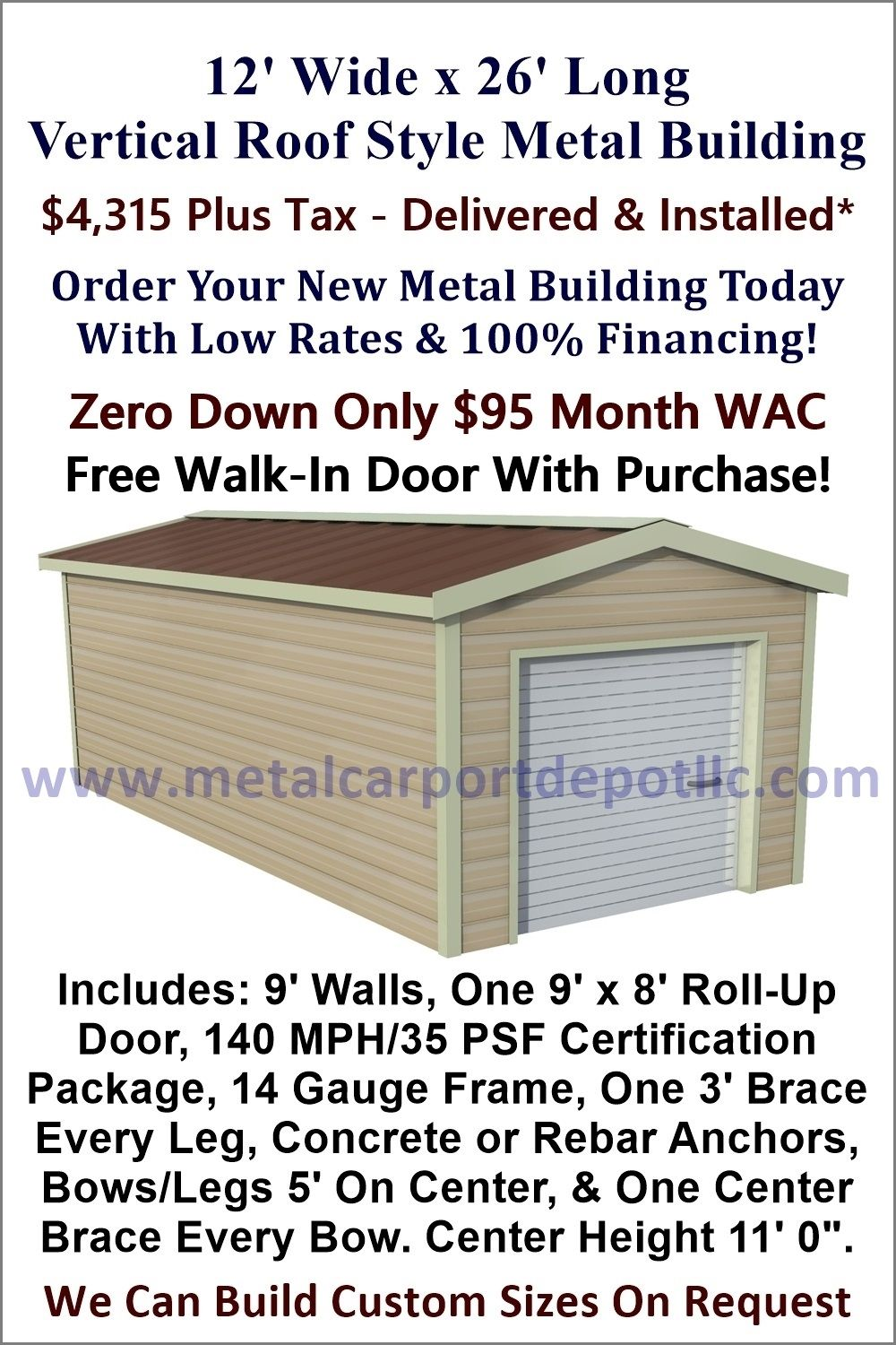 12 X 26 Steel Building Vertical Roof Metal Garage Metal Carport Depot Metal Buildings Roof Styles Metal Roof