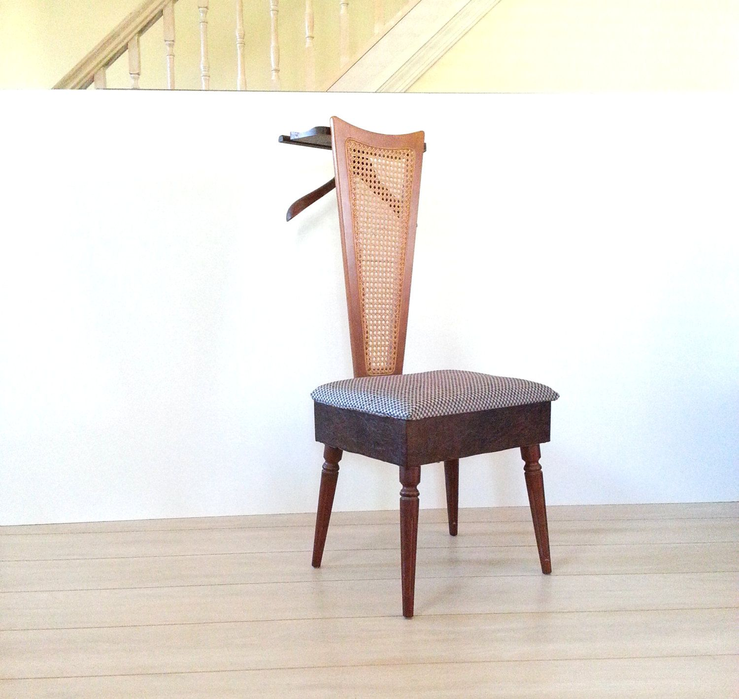 Mid Century Valet Chair / Butler Chair, Furniture Cane Valet, Wood Valet  Stand,