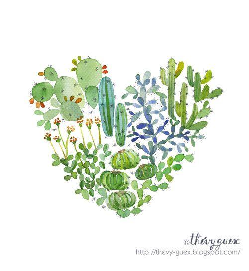 Heart Cactus Poster Green Cacti Succulent Watercolor Cactus Love