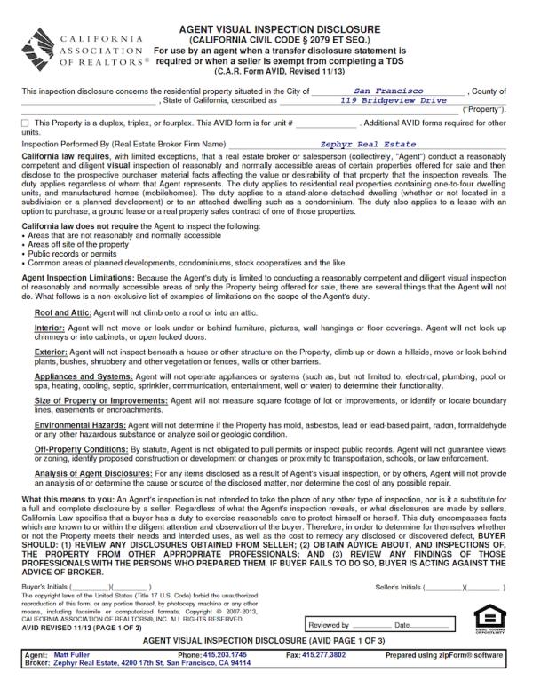Avid Agent Visual Inspection Disclosure Form San Francisco Real Estate Blog Marketing Visual