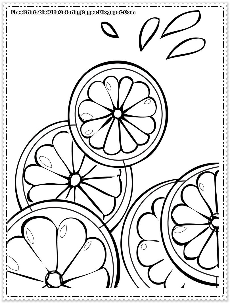 Orange Slice Coloring Pages Fruit Coloring Pages Food Coloring Pages Summer Coloring Pages
