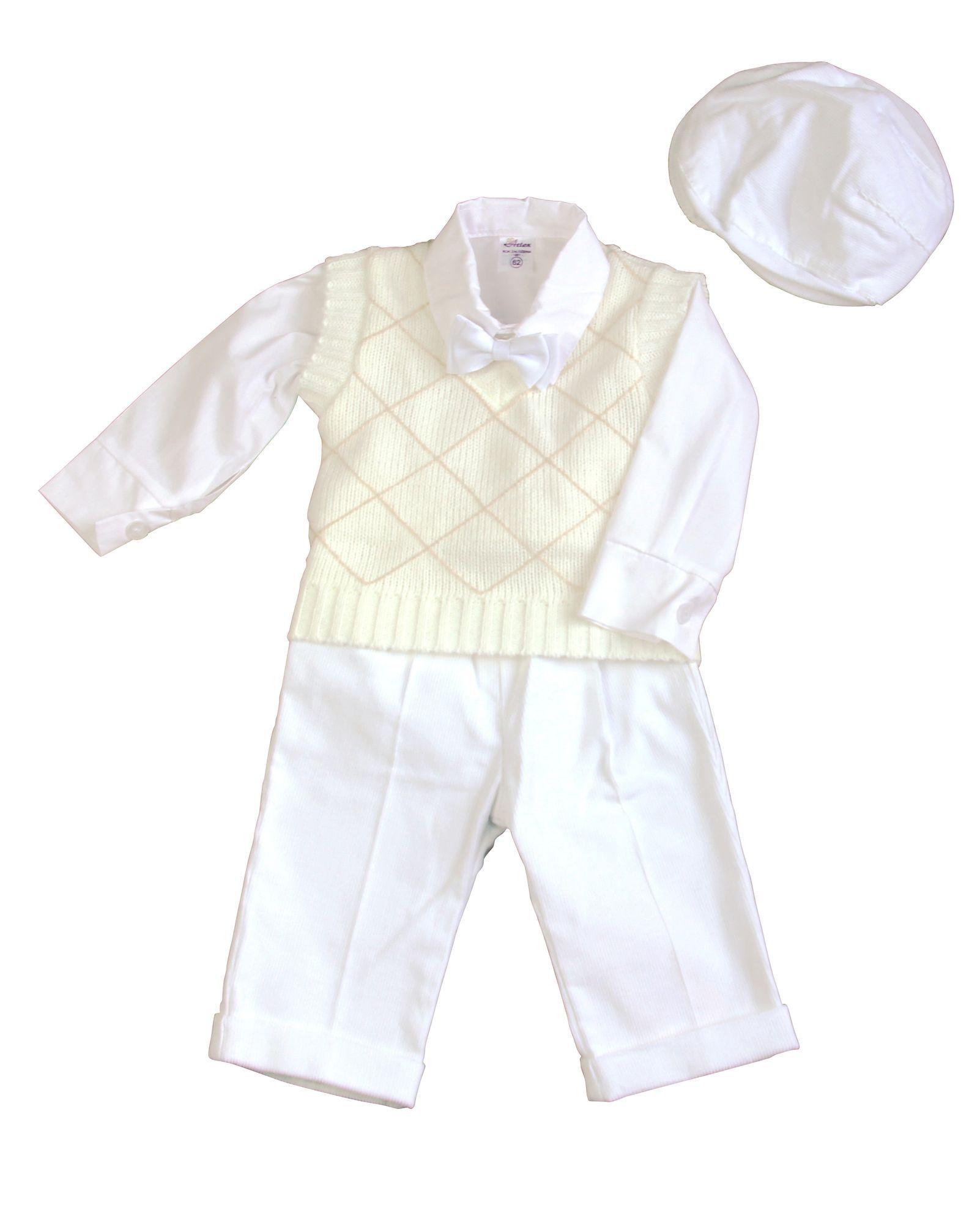 bimaro baby jungen babyanzug marc weiß creme taufanzug