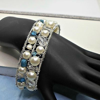 Bracelet-handmade-wirework-cuff-wirewrap-faux-pearls-faux-turquoise-adjust-Pat2