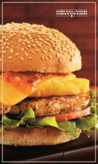 Mugg & Bean Sweet Chilli Chicken, Cheese & Pine Burger: lettuce ...