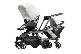 The new Double Helix double stroller from Orbit. Whoa, this thing does a LOT.