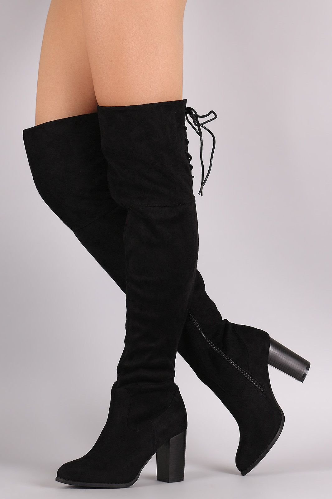8ae1f60dfe2 Qupid Suede Back Lace-Up Chunky Heeled Over-The-Knee Boots