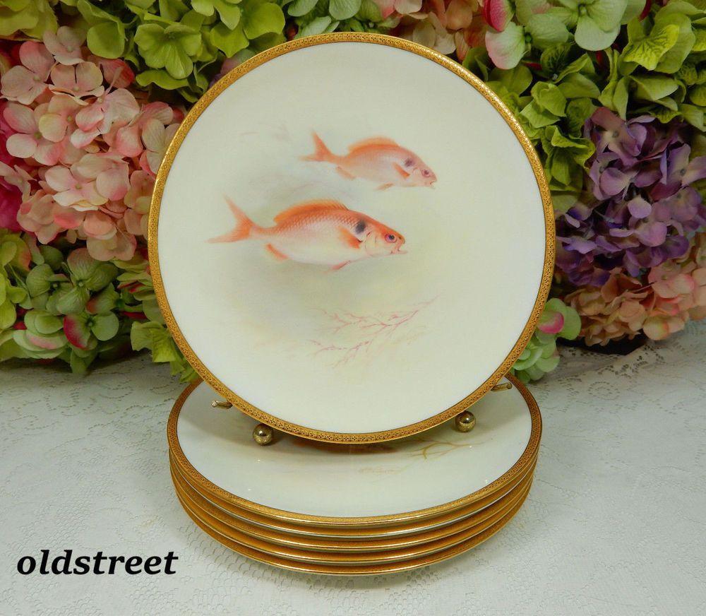 6 Antique Royal Doulton Porcelain Plates Hand Painted Fish Artist Signed Wilson & 6 Antique Royal Doulton Porcelain Plates Hand Painted Fish Artist ...