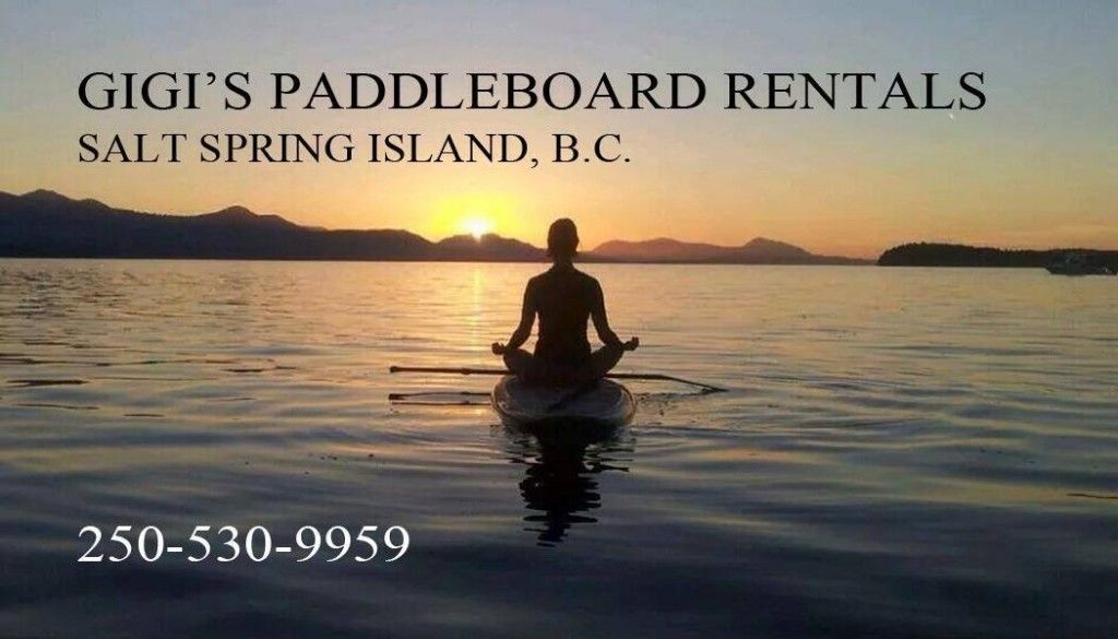 Gigi's paddleboard rentals on Salt Spring Island. She brings the boards to you!