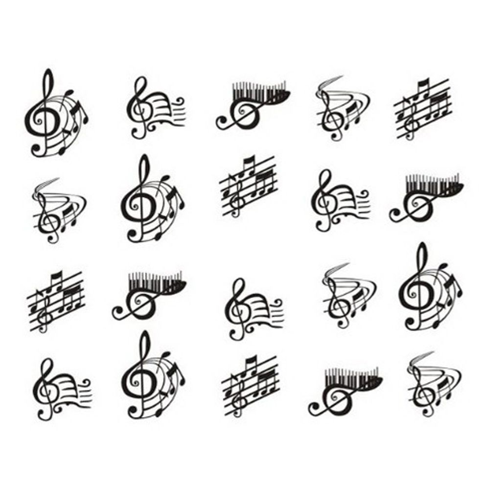 New Decals 1sheetsDIY Designs Music Notes Crazy Stickers