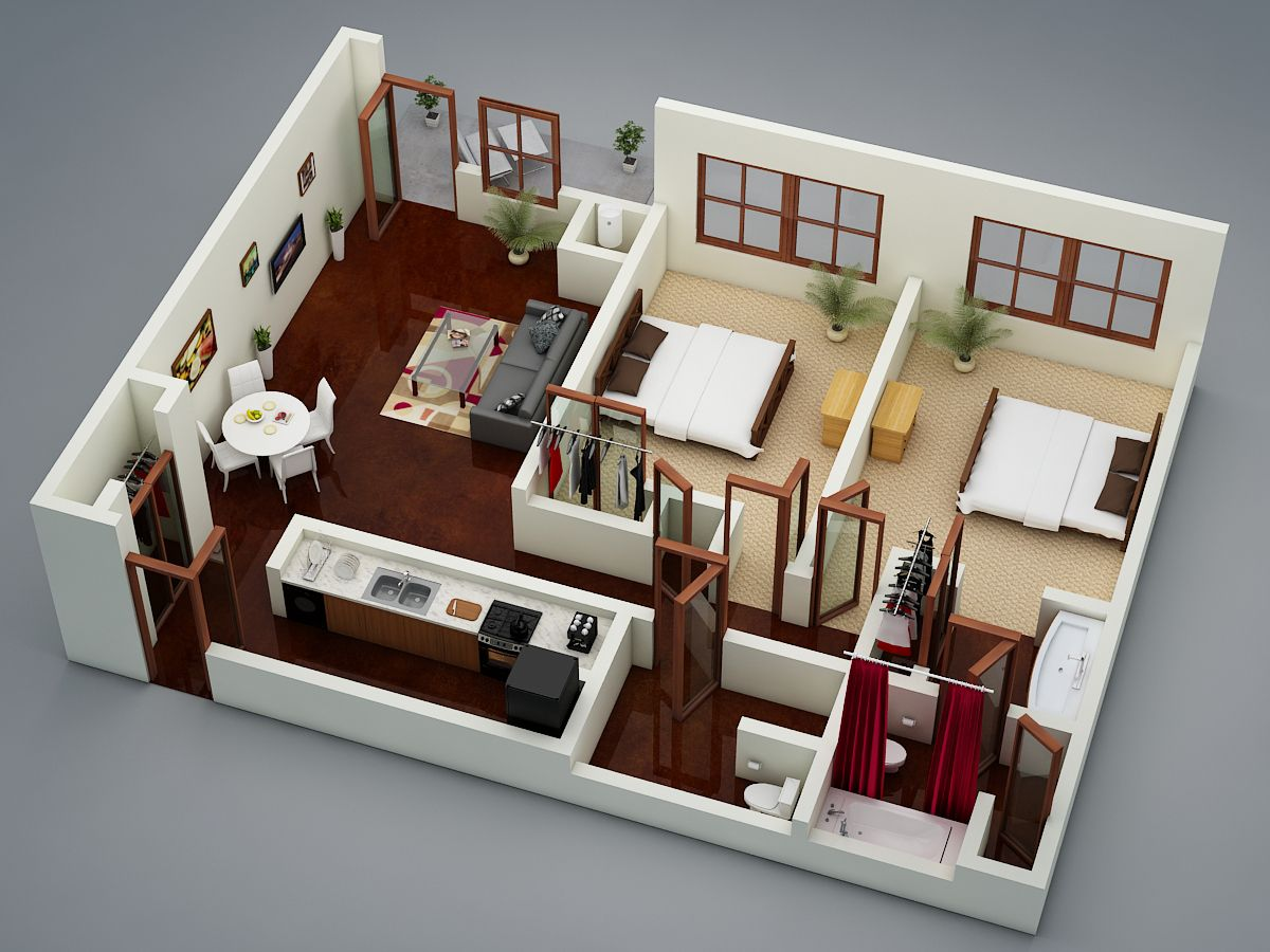 3d Floor Plan4 Bungalow House Design Small House Layout Small House Plans