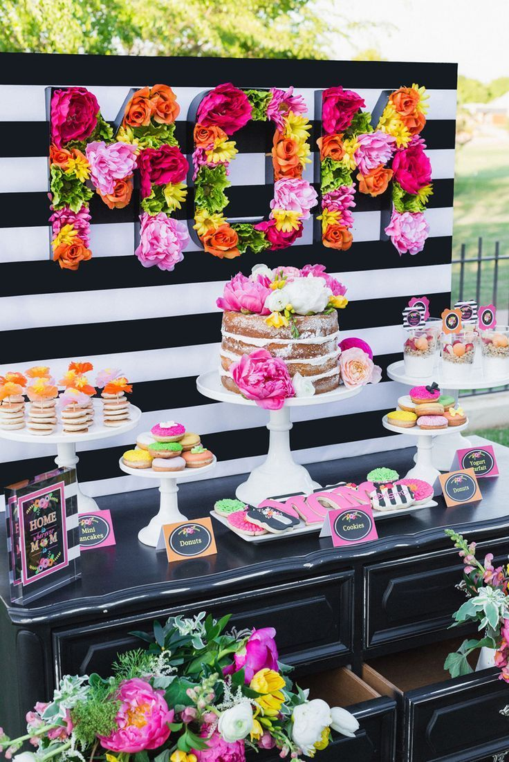 Mothers Day Brunch Ideas Kate Spade Inspired Party Decorations In Black And White With Lots Of Fresh Floral Details
