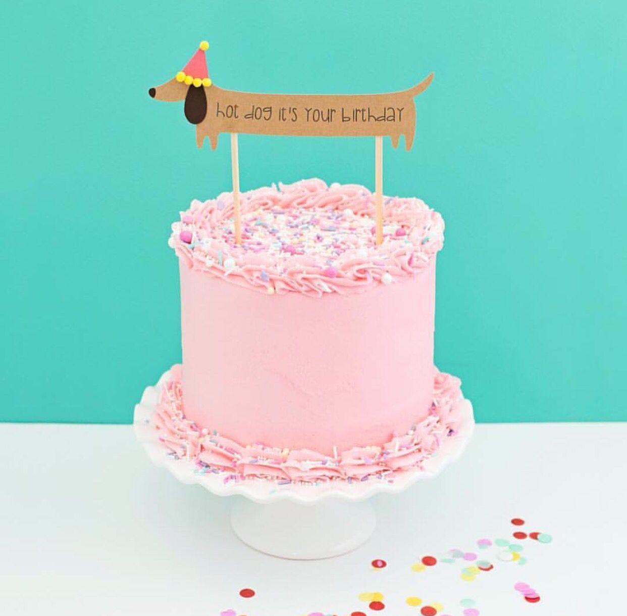 Weiner dog cake topper hankus second birthday party pinterest