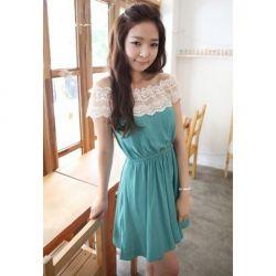 $7.31 Sweet Boat Neck Lace Embellished Sleevelss Dress for Women