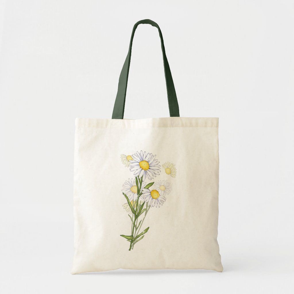 Chamomile Floral Print Tote Canvas Bag Gift