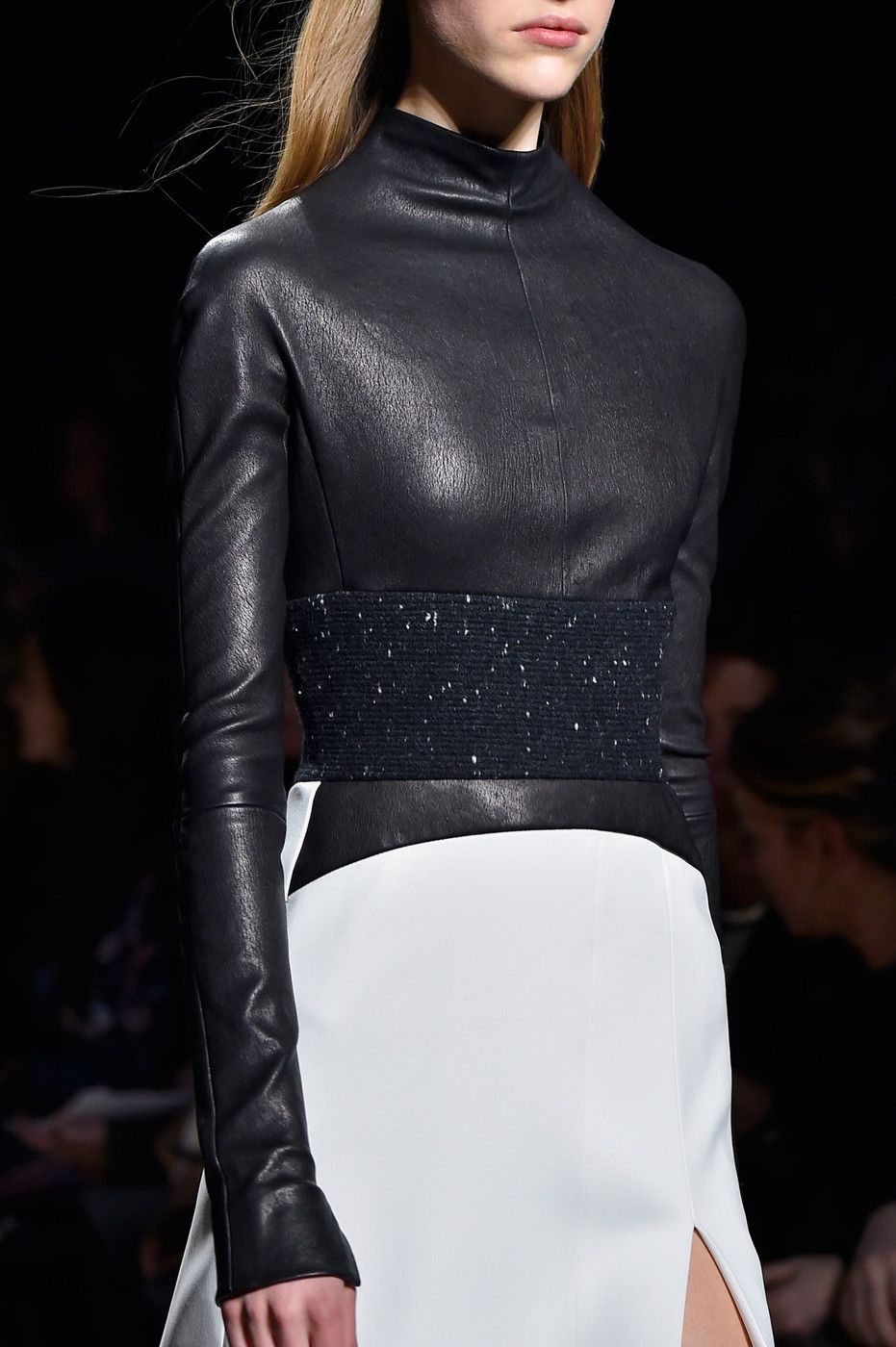 Monochorme dress with leather top & textured panel; fashion details // Narciso Rodriguez Fall 2015