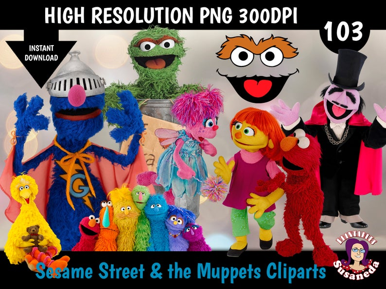 Sesame Street And Muppets Cliparts 103 Png Transparent Background 300 Dpi Instant Download In 2020 Muppets Sesame Street Png